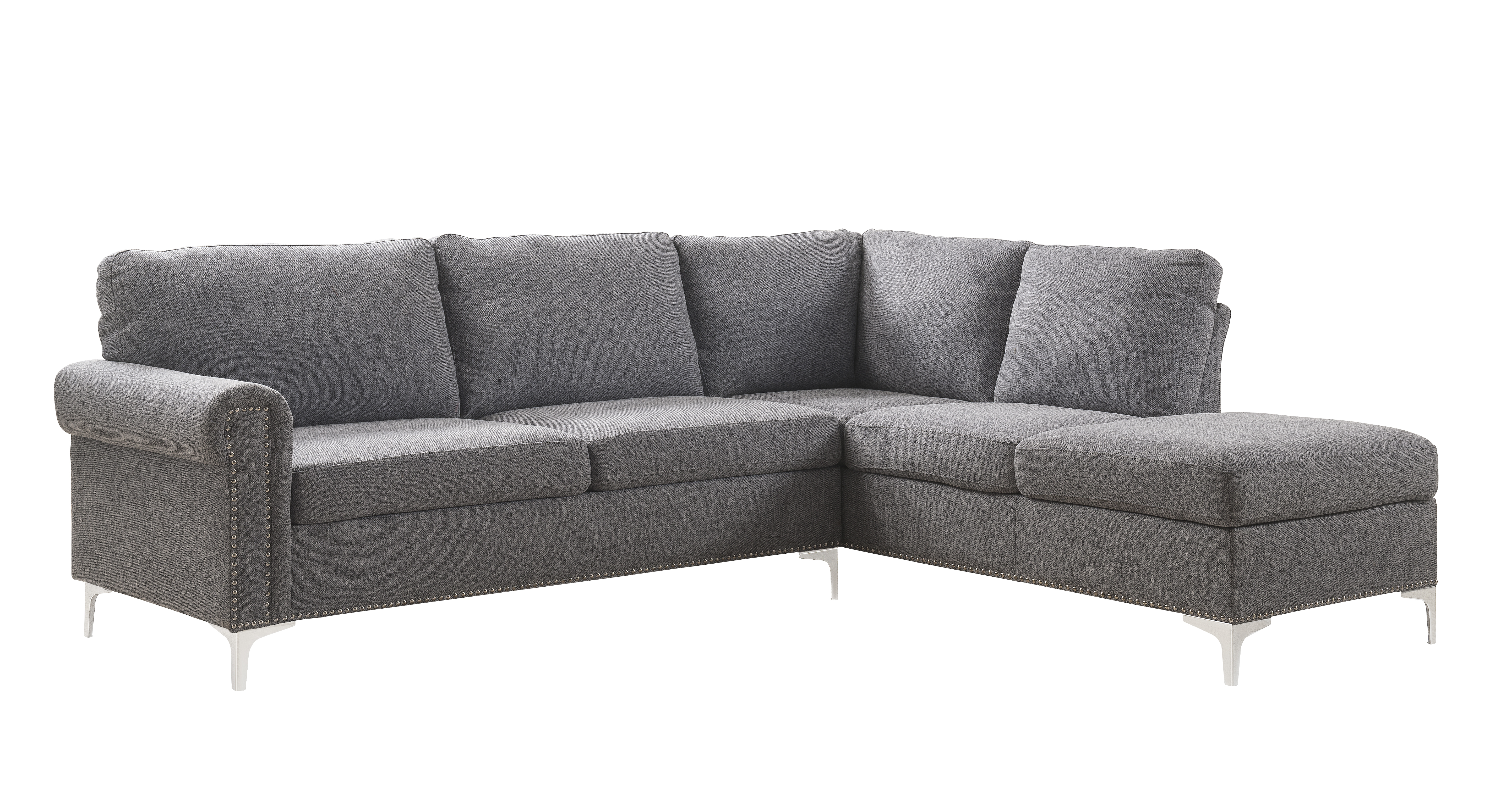 Sofa Grey Ebay Details About Acme Contemporary Melvyn Sofa With Gray Fabric Finish 52755