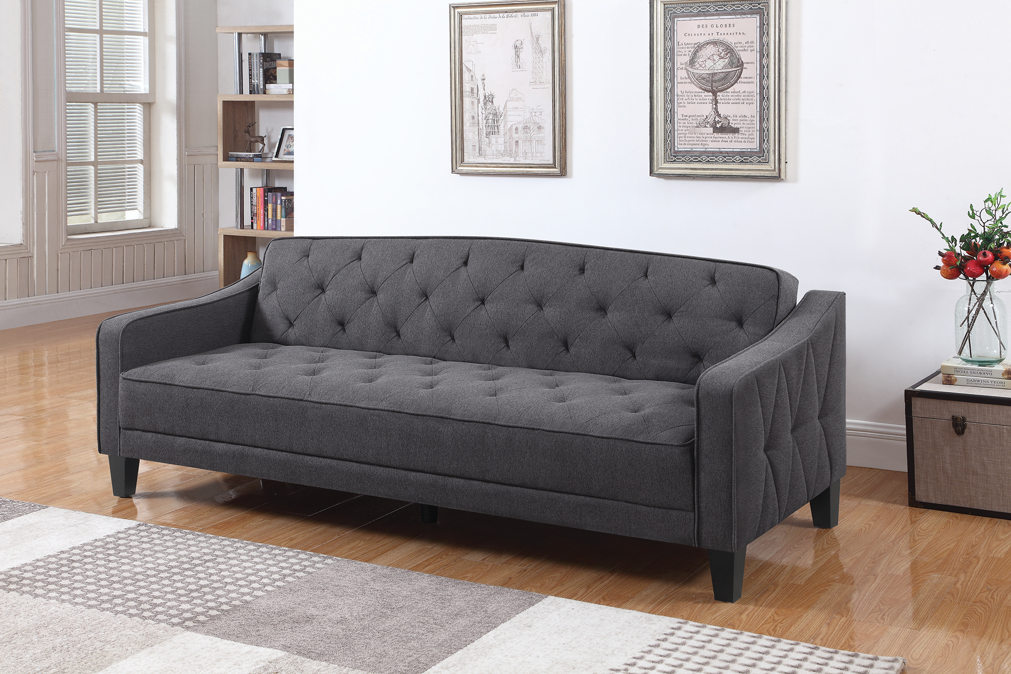 Ebay Sofa Grey Details About Coaster Fabric Sofa Bed With Dark Grey Finish 360016