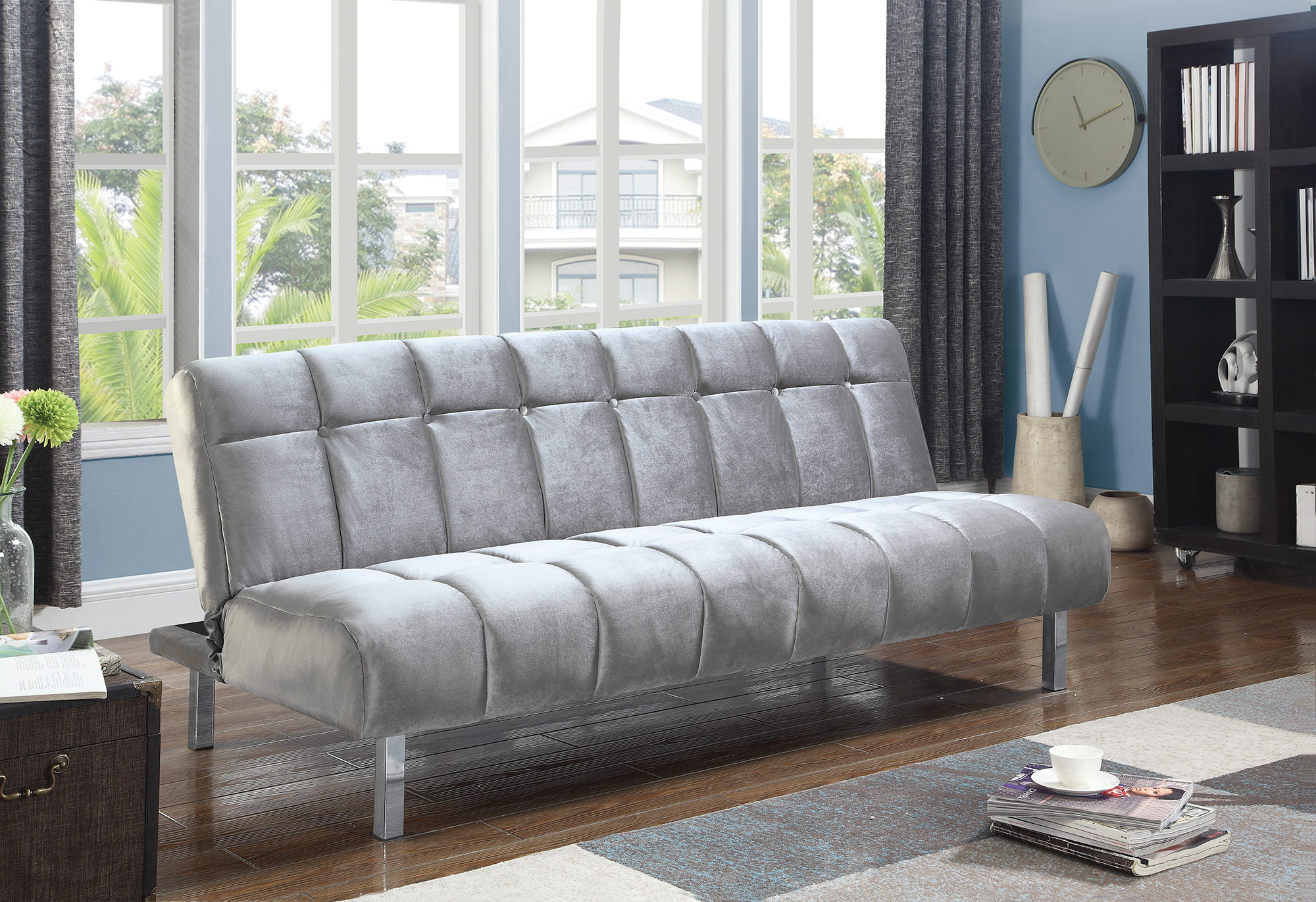 Ebay Sofa Grey Details About Coaster Fabric Sofa Bed With Grey Finish 360002