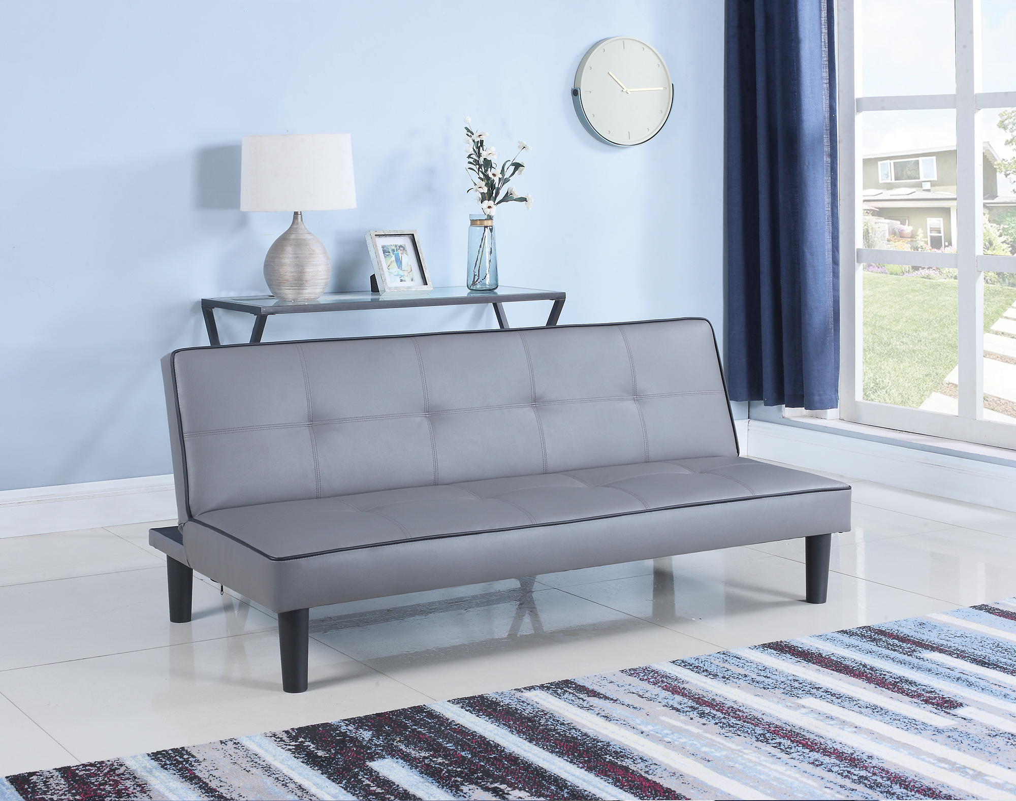 Ebay Sofa Grey Details About Coaster Fabric Sofa Bed With Dark Grey Finish 500415