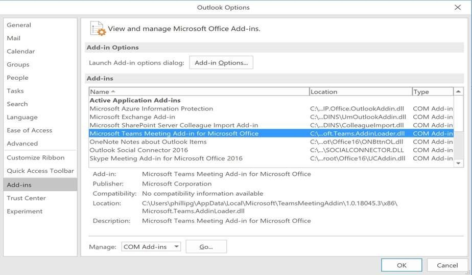 Why can\u0027t I see the Microsoft Teams Meeting add-in for Outlook