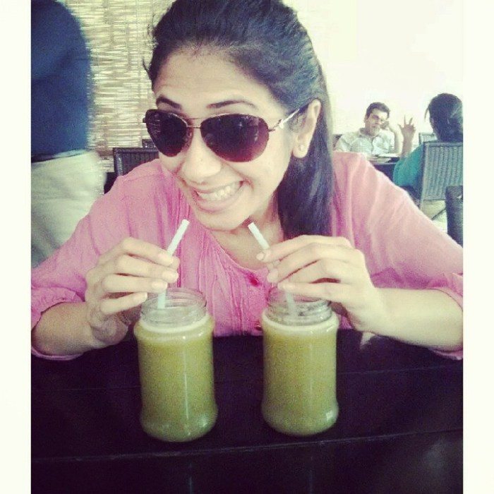 Yes! She loves it. Rakshita with Aam Panna @Roots Cafe