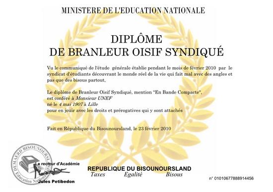 Diplome de Branleur