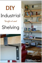 DIY Industrial rough cut wood shelves with custom forged steel shelf brackets work well for small spaces. Read my design tips for designing your own set of industrial shelves. H2OBungalow