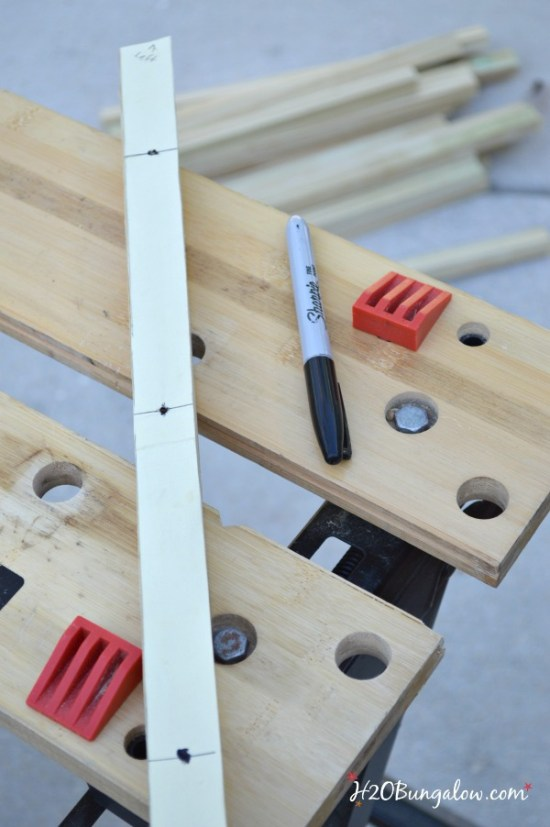 make template for drill holes in diy wood slat doormat H2OBungalow
