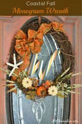 """Make a simple and festive monogram fall wreath with starfish, acorns and pumkins. Tuck sprigs of greenery into the grapevine wreath for filler. See this and 32 more fall projects in the Fall Ideas Tour. www.H2OBungalow.com #Fallwreath """"Falldecor #FallIdeasTour"""