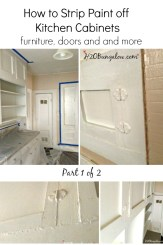 How to strip layers of old paint of kitchen cabinets, furniture and more tutorial. I'm sharing lots of tips to mke your projects easier, less messy and way less time consuming by sharing my tips from my projects. Includes and best product supply lits too. www.H2OBungalow.com #refinishkitchen cabinet ##kitchencabinetmakeover