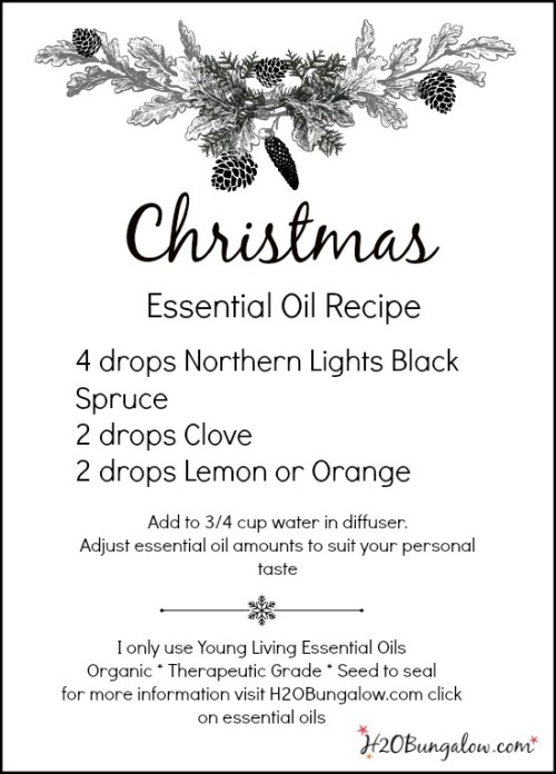 Christmas Essential Oil Recipe With Free Printable - H20Bungalow