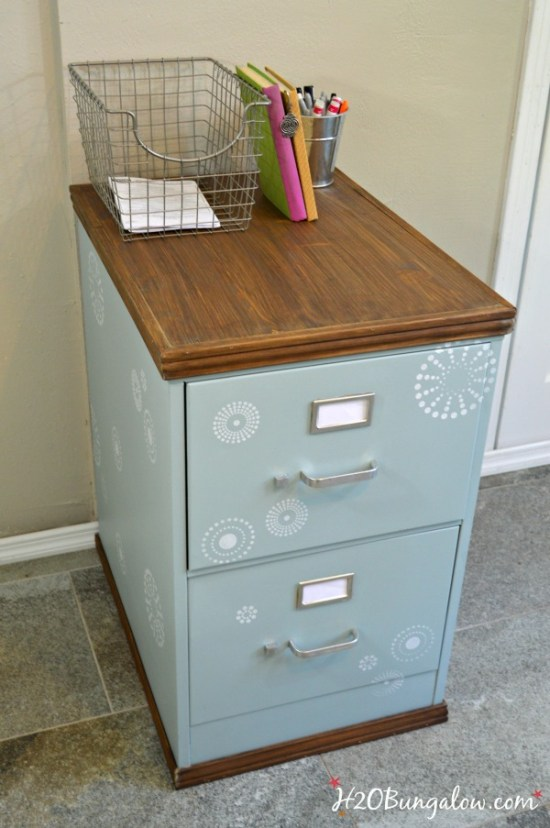 Wood trimmed filing cabinet makeover h20bungalow Upcycled metal filing cabinet