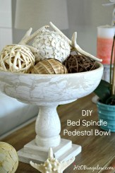 Tutorial to make a repurposed DIY bed spindle pedestal bowl from a bed frame and wood bowl. Make with or without power tool. Awesome home decor item. H2OBungalow.com