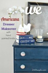 Americana dresser makeover with hand painted distressed patriotic red white and blue knobs H2OBungalow