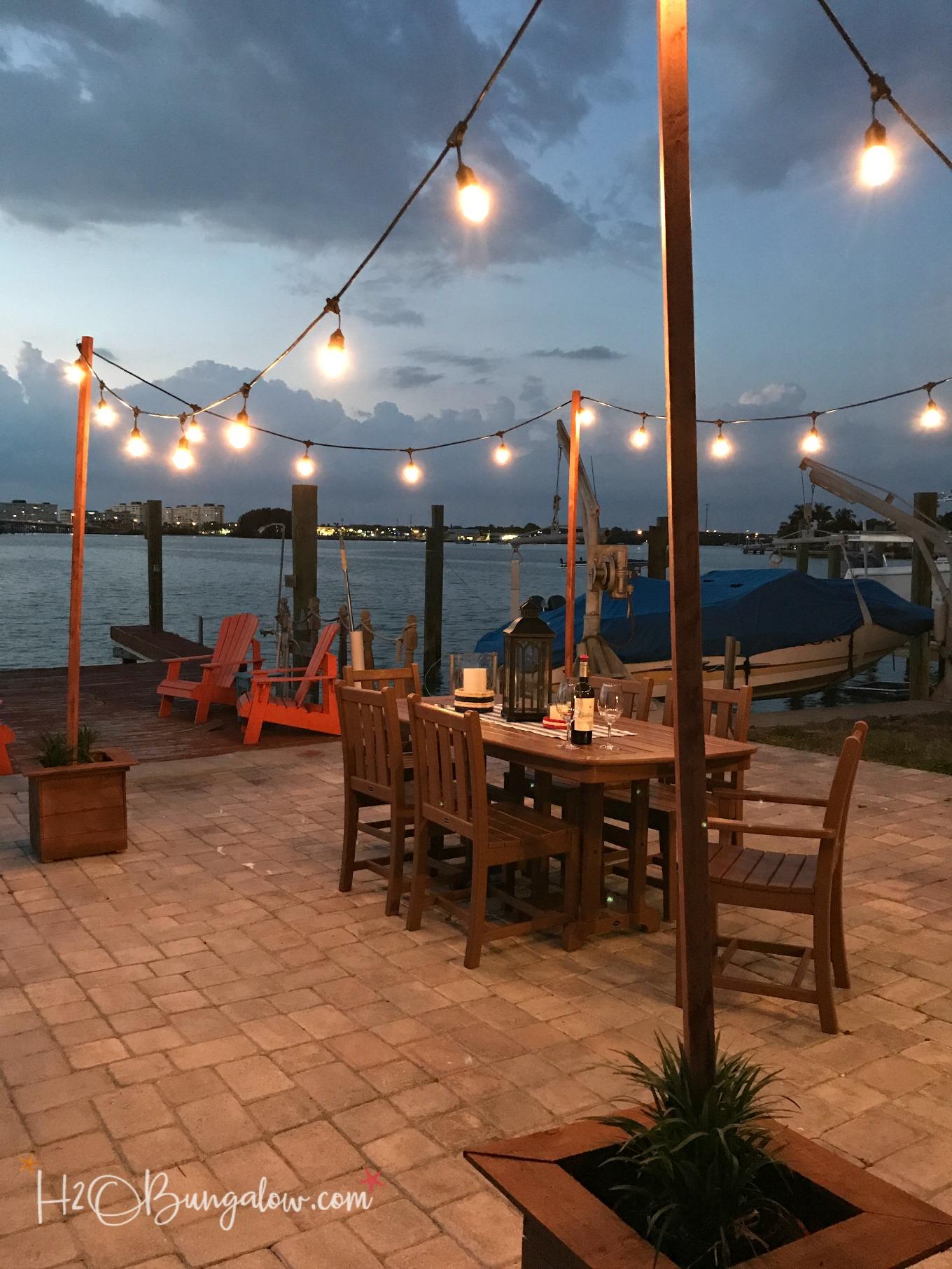 DIY Outdoor String Lights on Poles
