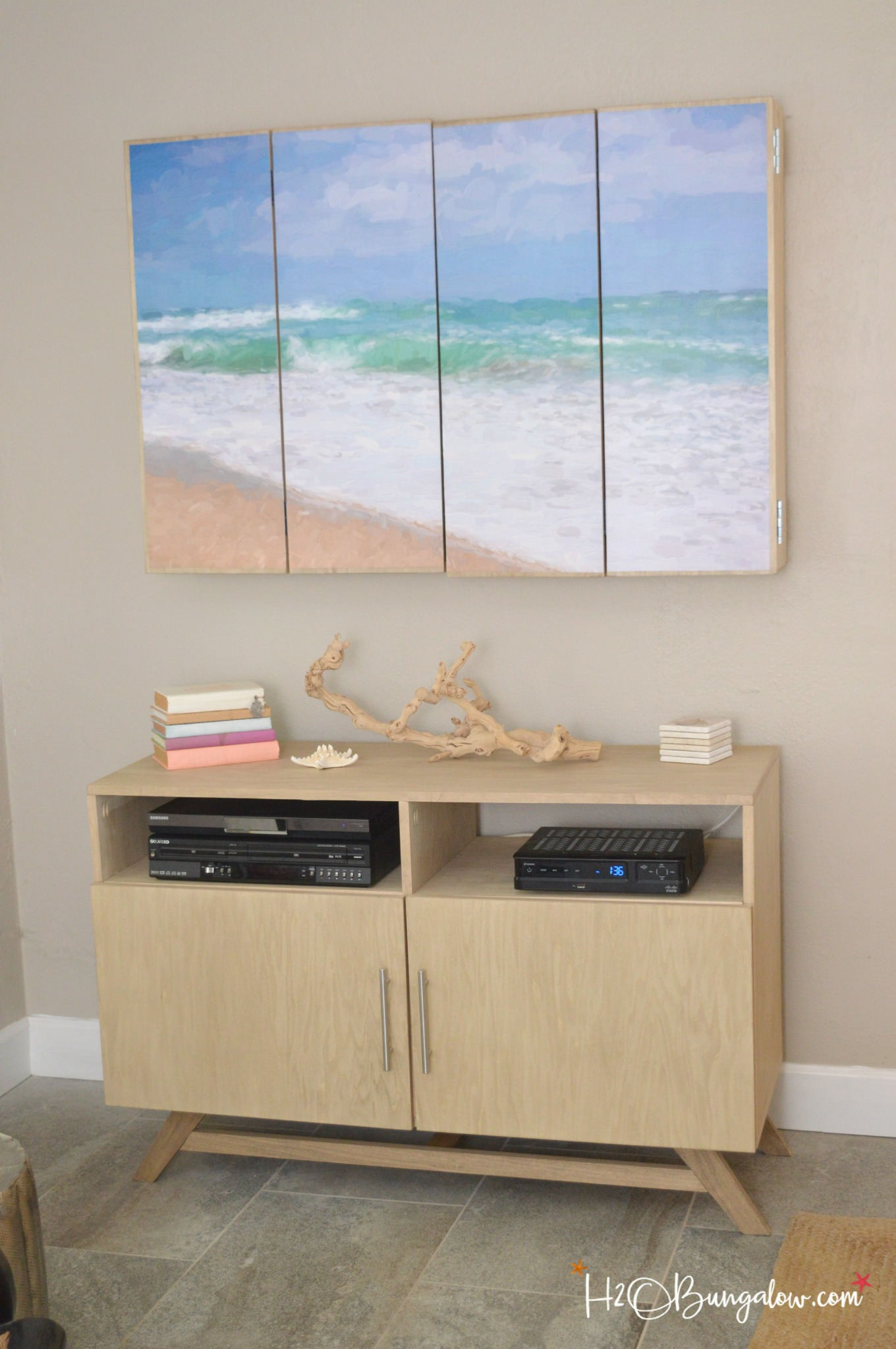 In Wall Media Cabinet Diy Media Console With Free Plans H2obungalow