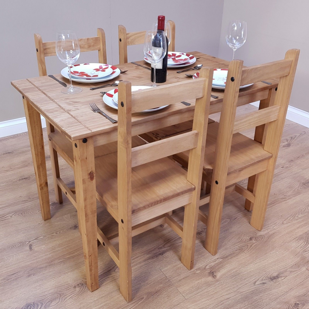 Dining Room Furniture Rustic H4home Corona Rustic Dining Table Set And 4 Chairs Solid Mexican Pine H4home Furnitures