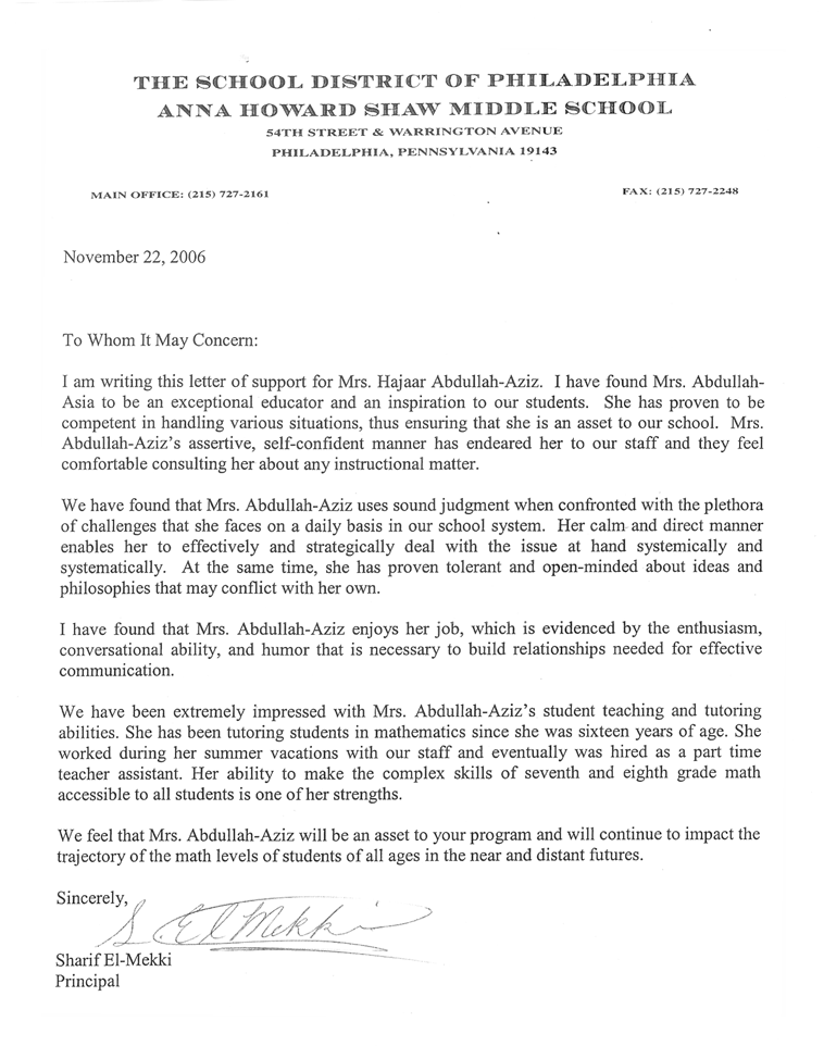 Recommendation letter for student admission