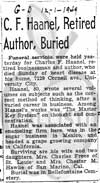 Charles F. Haanel obituary.