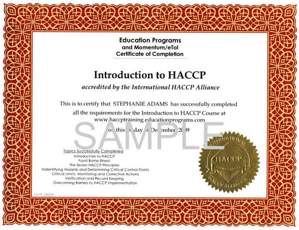 HACCP Certification Training Home Education Programs - free training certificates