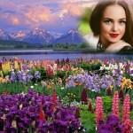 Fotomontaje de paisaje con flores