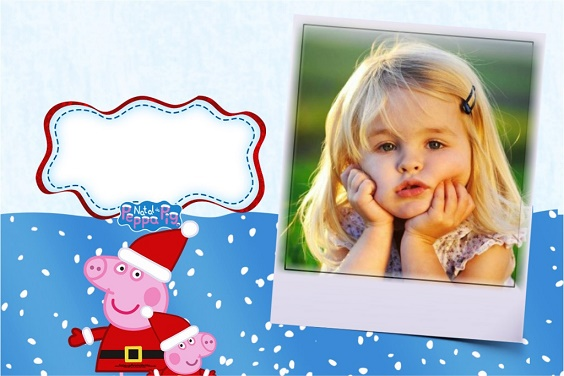 Fotomontaje de peppa Pig Navidad para crear gratis - marcos infantiles de Peppa Pig navidad para editar fotos