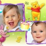 Marco para cumpleaños de Winnie the Pooh con dos fotos
