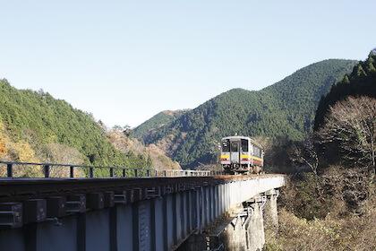 温泉地に向けて渓谷を走る鉄道列車