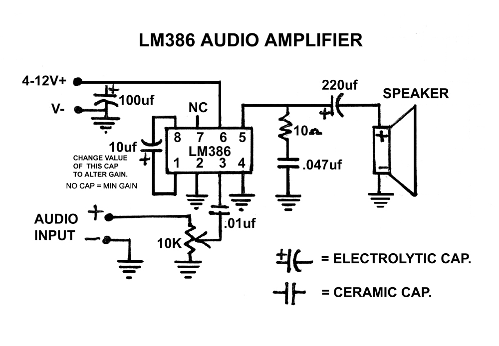 lm386 audio amplifier chip schematic
