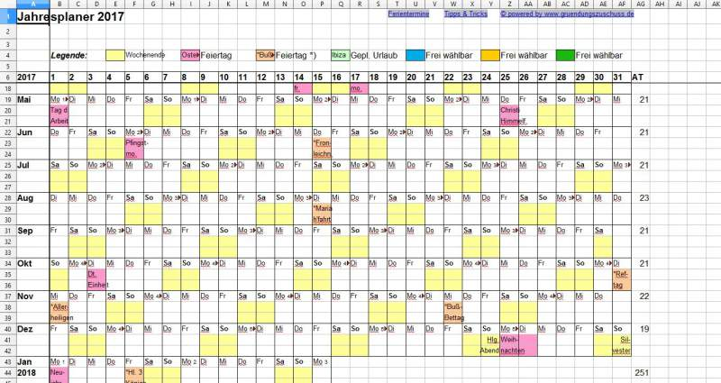 Year Planner Excel