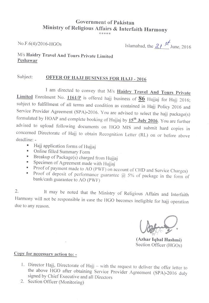 OFFER LETTER HAJJ 2016 Haidry Travel and Tours (pvt) Limited - Offer Letter