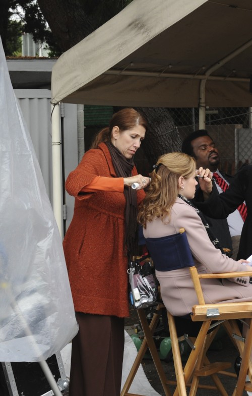 The lovely Jenna Fischer gets a touch up outside before we roll.