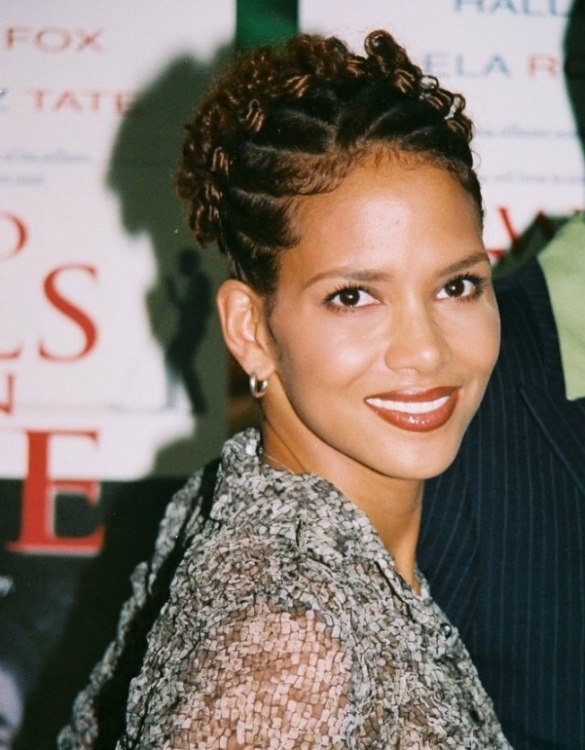 Frizzy Hair Problems Halle Berry 39;s Festive Upstyle For Short Hair