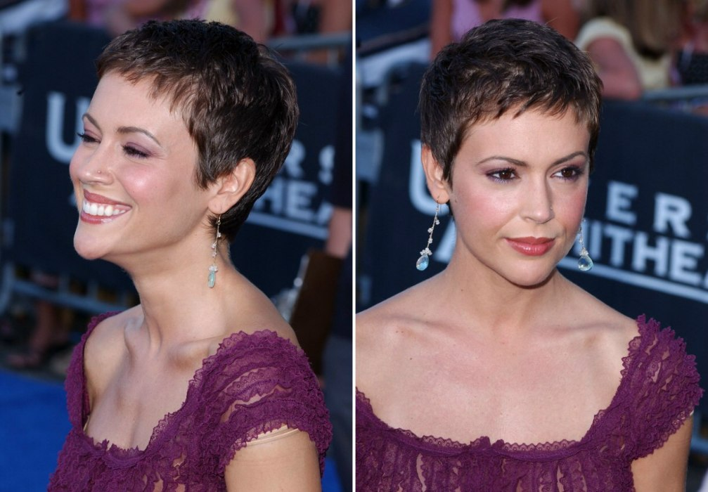 Pixie Haircut Neckline Alyssa Milano 39;s Pixie Very Short Haircut To Keep The