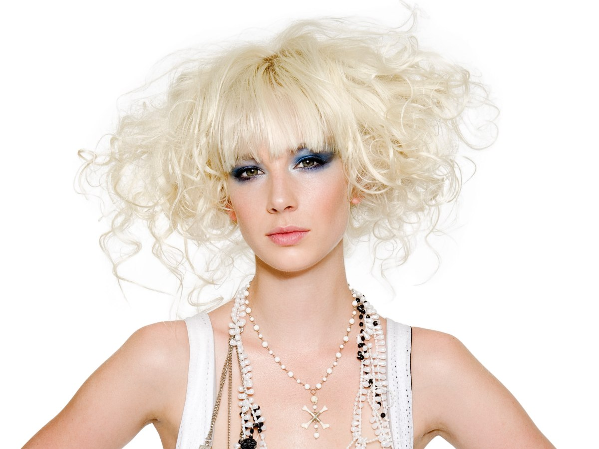 Layered Hairstyles Back Platinum Blonde Hairstyle With Random Curls