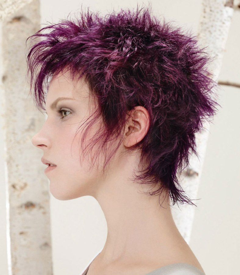 Pixie Cut Choppy Punk Style With Short Purple Hair And Spikes