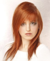 Long Straight Casual Hairstyle with Asymmetrical Bangs ...