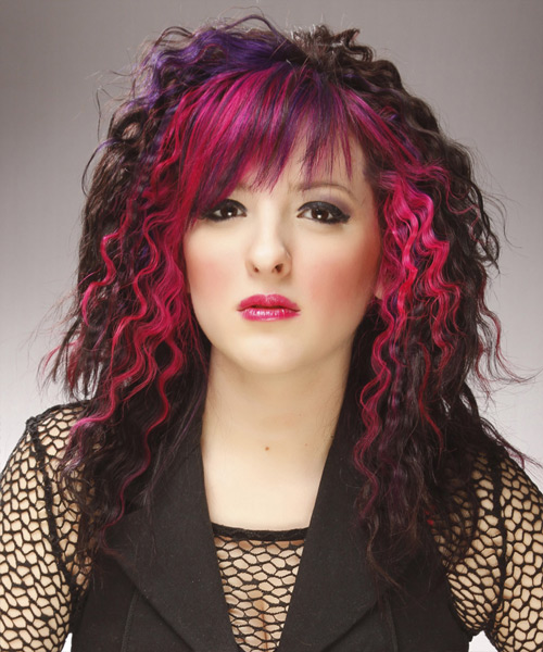 Bob Cut Haircuts Long Curly Dark Brunette And Pink Two Tone Hairstyle