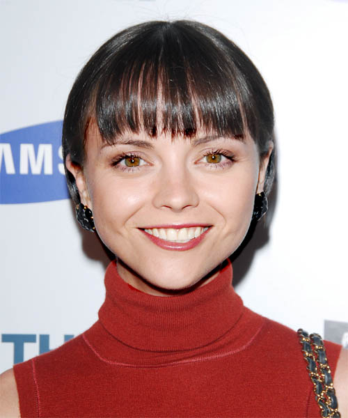 Pixie Haircut Neckline Christina Ricci Short Straight Formal Hairstyle