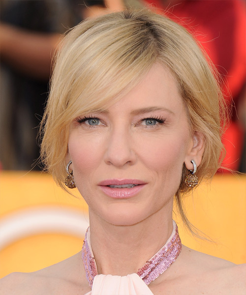 Mens Cut Hairstyles Cate Blanchett Casual Long Straight Updo Hairstyle - Light