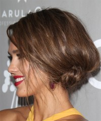 Jessica Alba Long Straight Formal Updo Hairstyle ...