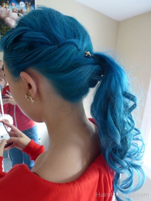 Curly Hair Korean Blue Side Ponytail Hairstyle