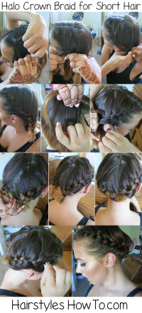 Halo Crown Braid for Short Hair | Hairstyles How To