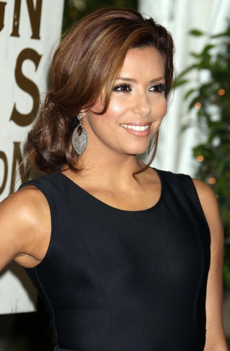 Bob Cut Haircuts Eva Longoria Elegant Low Bun With Side Bangs Hairstyles