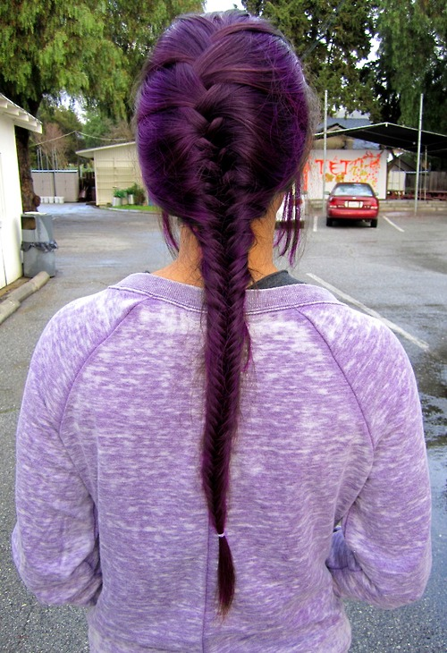 Bob Hairstyles The Back View Deep Purple Fishtail Braid Hair Ideas For Long Hair