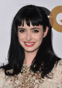 Krysten Ritter Long Straight Dark Hairstyle with Bangs ...