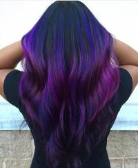Peacock Peekaboo Hair Colors Ideas Of Dark Purple And Blue ...