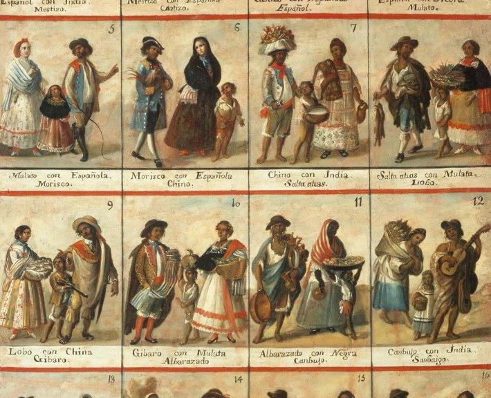 Las castas. Anonymous, 18th century, oil on canvas, 148×104 cm, Museo Nacional del Virreinato, Tepotzotlán, Mexico.