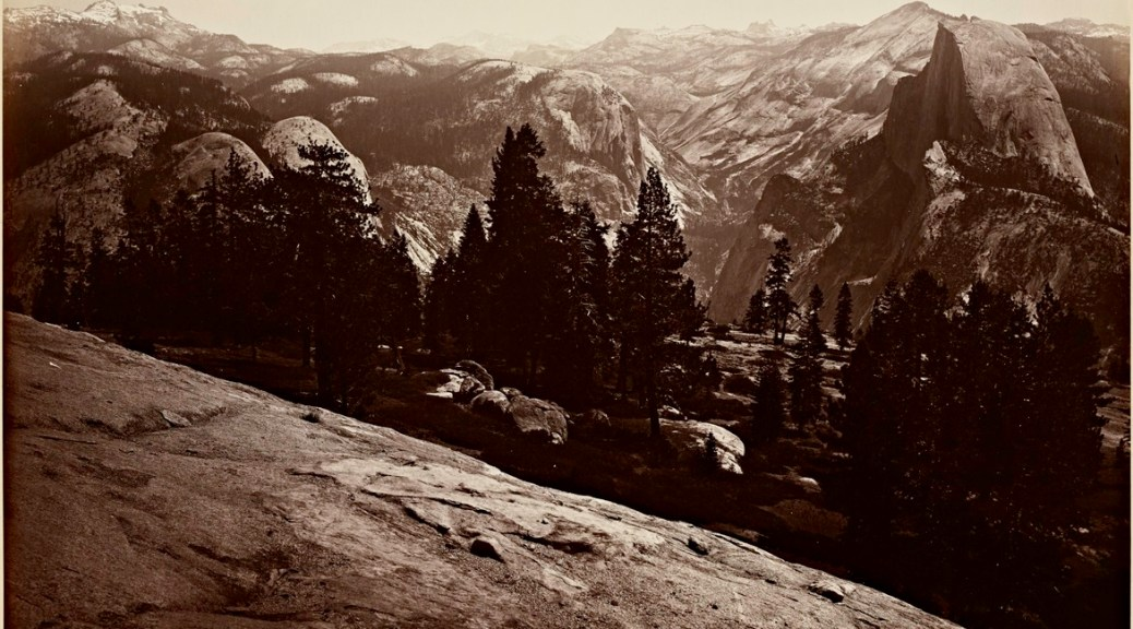 Stanford University Libraries. Carleton Watkins. The Domes from the Sentinel Dome, Yosemite.