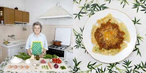 Marisa Batini, 80 years old. Castiglion Fiorentino, Italy. Swiss chard and ricotta Ravioli with meat sauce.