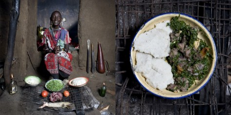Normita Sambu Arap, 65 years old. Oltepessi (masaai mara) Kenya. Mboga and orgali (white corn polenta with vegetables and goat).