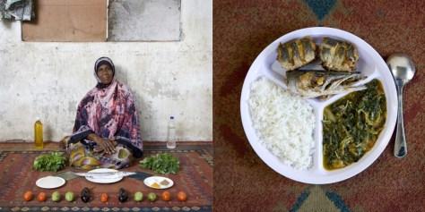 Miraji Mussa Kheir, 56 years old. Bububu, Zanzibar. Wali, mchuzina mbogamboga (rice, fish and vegetables in green mango sauce).