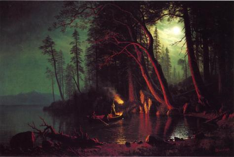 Albert Bierstadt. Lake Tahoe, Spear Fishing by Torchlight, c. 1875.